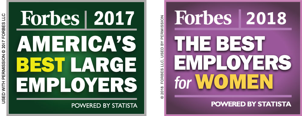 Forbes Magazine recoginition for being one of America's Best Large Employers and one of the Best Employers for Women.